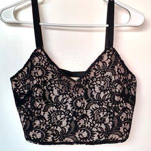 Express Black & Nude Lace Crop Top Size Medium